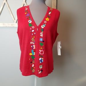 Super Cute Red Holiday Vest Large